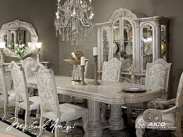 Aico Furniture Dining Room Sets Monte Carlo Ii Silver Pearl Rectangular Four Column Dining Table
