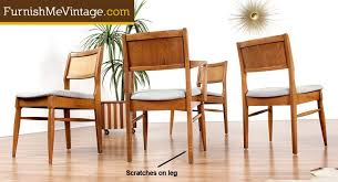 Set Of  Woven Back Mid Century Dining Chairs - Woven dining room chairs