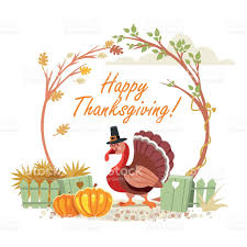 happy thanksgiving banners cute turkey in autumn garden happy thanksgiving concept stock
