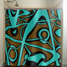 Teal And Brown Shower Curtain Abstract Turquoise Brown Shower Curtain From Tablishedworks On