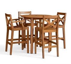 Pottery Barn Bar Stool Hampstead Teak Fixed Bar Height Table U0026 Barstool Set Honey
