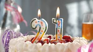 birthday candles 21 burning on top of cake stock footage video
