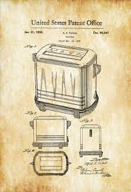vintage kitchen decor toaster patent print kitchen decor restaurant decor vintage
