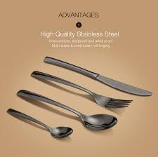 kcasa kc fl200 stainless steel black gold flatware dinnerware