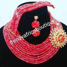 beaded coral necklace images Sale red crystal beaded necklace set in choker 10 rows beaded jpg