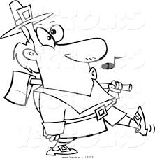 vector of a cartoon whistling pilgrim carrying an ax over his