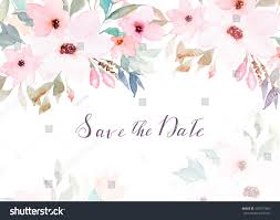 watercolor floral template wedding cards invitations stock