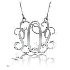 sterling monogram necklace monogram necklace with swirling design in sterling silver pop