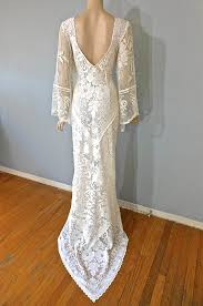 boho vintage lace wedding dress cream backless wedding gown angel