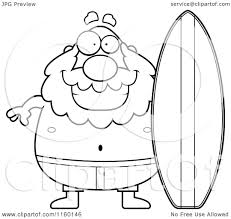 cartoon clipart of a black and white pudgy grandpa surfer vector