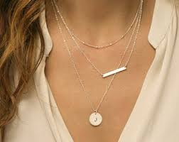stackable necklaces layered necklace set with bar necklace by layeredandlong