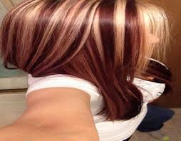 brown hair with blond and red highlights womens medium length