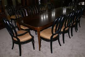 modern bassett cherry dining room table and set of 12 painted