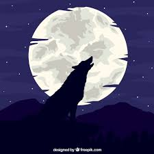 wolf howling at the moon background vector free