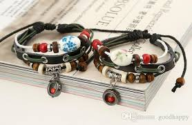 Handmade Mens Bracelets - vintage handmade jewelry leather bracelet personality beaded