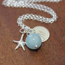 Monogrammed Sterling Silver Necklace Aquamarine Bead U0026 Monogram Sterling Silver Necklace 43 00 1