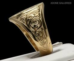 engraved rings gold images Gallery sales mason signet lvx ii gold rings image 5 jpg