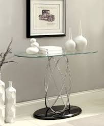 Glass Entry Table Aina Iii Modern Styling Chrome And Glass Sofa Console Entry Table