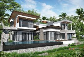 poolhouse 3d render of building tropical modern pool house in thailand stock