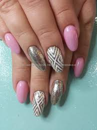 social build no 38 gel with silver glitter and freehand nail art