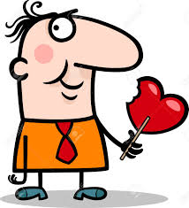 cartoon illustration of funny man with valentine heart shape