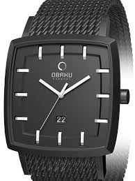 black mesh bracelet images Obaku harmony 40mm wide quartz watch with black mesh bracelet jpg