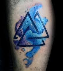 watercolor valknut tattoo designs for guys on arm tattoos