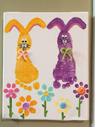 easter spring toddler canvas painting bunnies buttons flowers