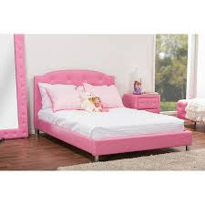 baxton studio canterbury pink leather contemporary full size bed