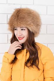 fashionable warm men made fox fur leather hats black red white