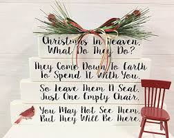 sympathy gifts christmas in heaven with chair and base