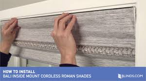 Blackout Cordless Roman Shades How To Install Bali Cordless Roman Shades Inside Mount U0026raquo