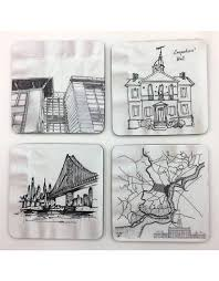 philadelphia architecture napkin sketches coaster set 1 aia