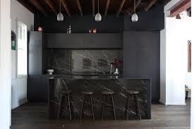 black kitchen installed pietra grey marble 12mm silestone