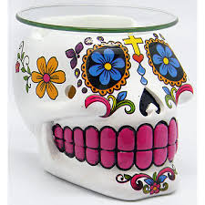 white sugar skull day of the dead oil simmer pot uses a tealight white sugar skull oil burner at gothic plus gothic clothing jewelry goth shoes