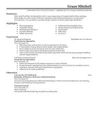Sample Of Work Experience In Resume by Unforgettable Food Service Specialist Resume Examples To Stand Out