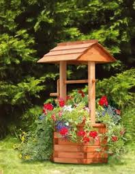 new rustic wood wishing well planter backyard yards and