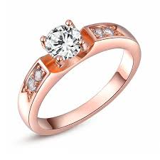 girls rings style images Womens 18k rose gold plated round diamond crystal solitaire ring jpg