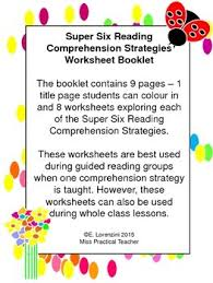 super six reading comprehension strategies worksheet booklet
