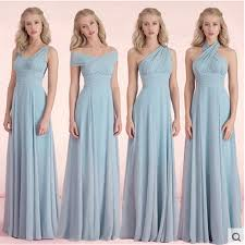 dusty blue bridesmaid dresses chiffon fall winter bridesmaid dress