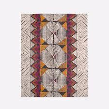 diamond motif wool rug burnt orange west elm