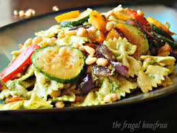 pesto pasta salad with grilled vegetables frugal hausfrau