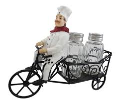 Chef Kitchen Decor by Amazon Com 1 X Bicycle Riding French Chef Salt And Pepper Shaker