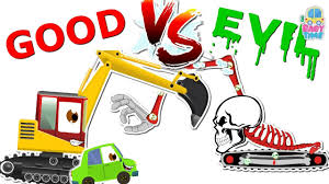 excavator war good vs evil scary heavy vehicles jcb small