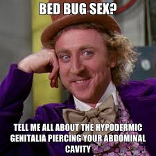 Bed Bug Meme - bed bug sex tell me all about the hypodermic genitalia piercing