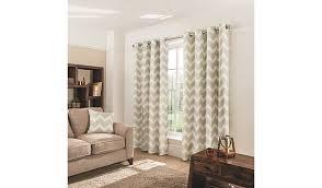 natural chevron eyelet curtains curtains u0026 blinds george at asda