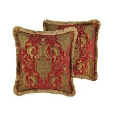 Sherry Kline China Art Red 20 inch Decorative Throw Pillows Set