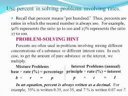 solving word problems involving percentage rate and base how to
