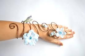 Blue Flower Vine - blue flower and vine fairy arm cuff slave bracelet wedding