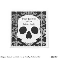 elegant damask and skull halloween personalized standard cocktail